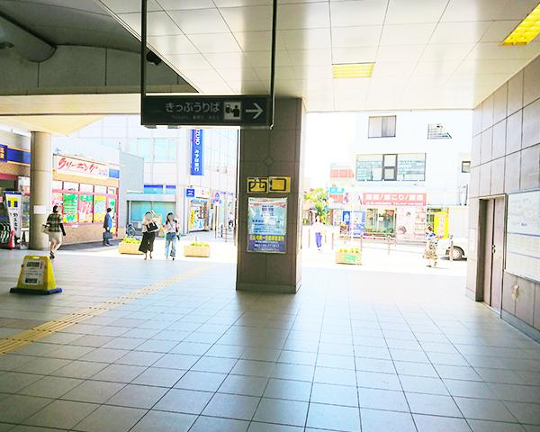 鎌ヶ谷駅改札を右に向いた方向の図